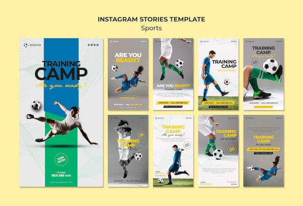 Training camp instagram stories template Free Psd
