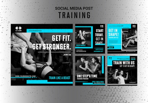 Training instagram posts template with photo Free Psd