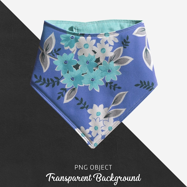 Прозрачный синий с цветочным рисунком ребенок или детская бандана Premium Psd