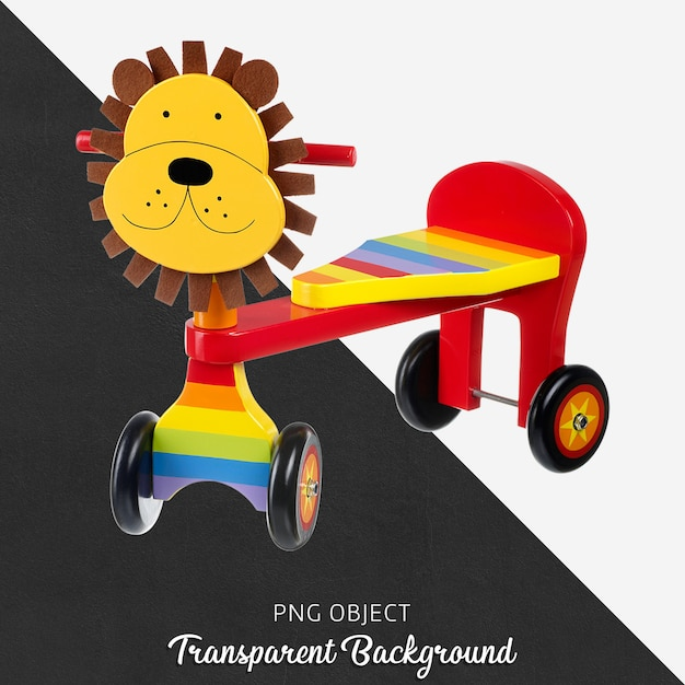 Transparent lion wooden bicycle for baby or children Premium Psd