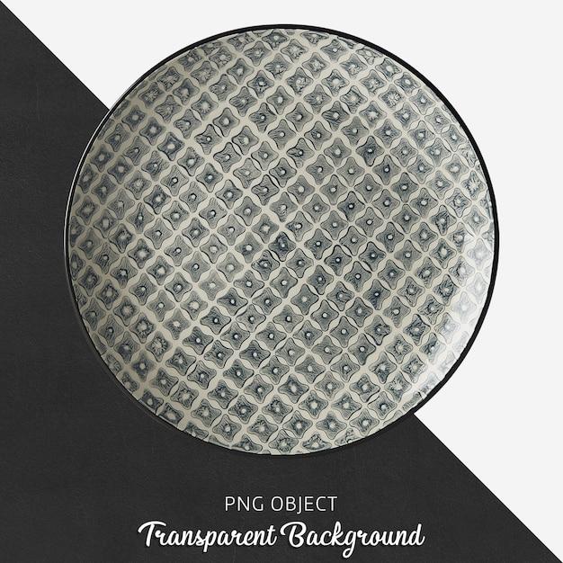Transparent patterned, black, ceramic or porcelain round plate Premium Psd