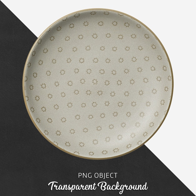 Transparent patterned, brown, ceramic or porcelain round plate Premium Psd