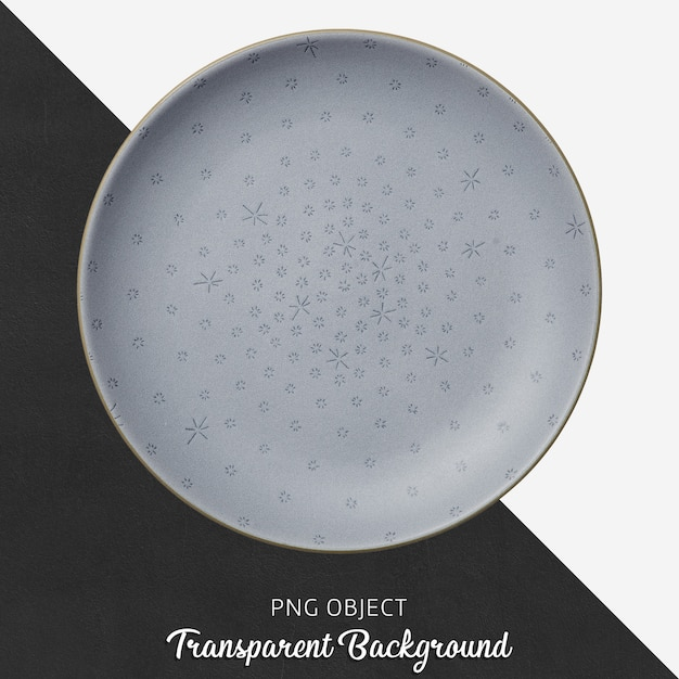 Transparent patterned, light blue, ceramic or porcelain round plate Premium Psd
