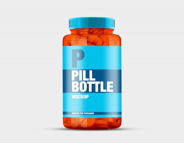 Прозрачная бутылка макет таблетки Premium Psd
