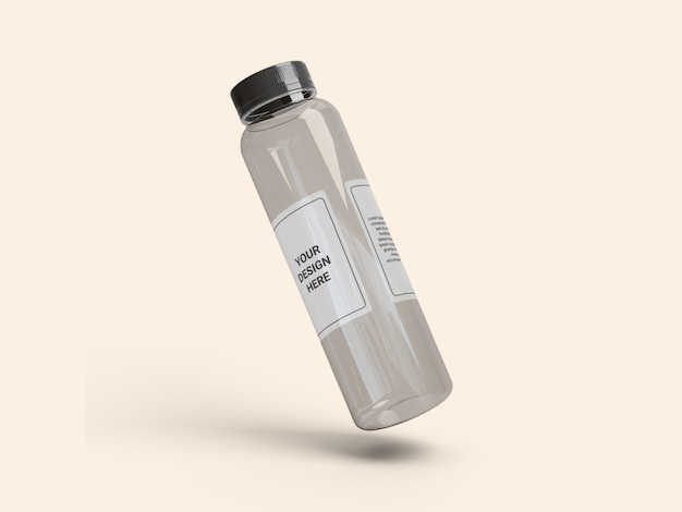 透明スリムプラスチックジュースボトルモックアップ Premium Psd