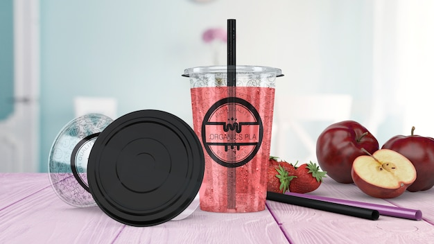 Transparent smoothie glass mockup Free Psd