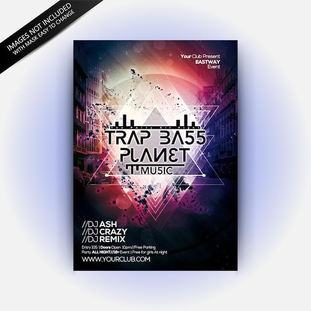 Trap bass planet party Premium Psd