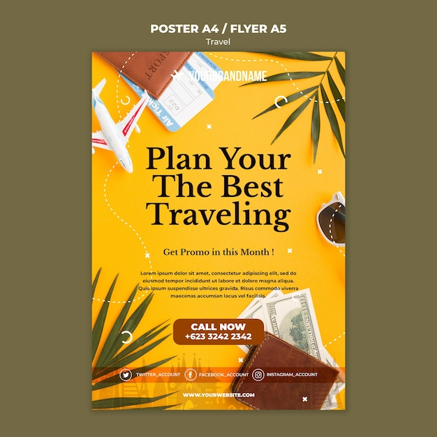 Travel agency ad flyer template Free Psd