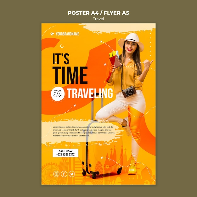 Travel agency ad poster template Free Psd