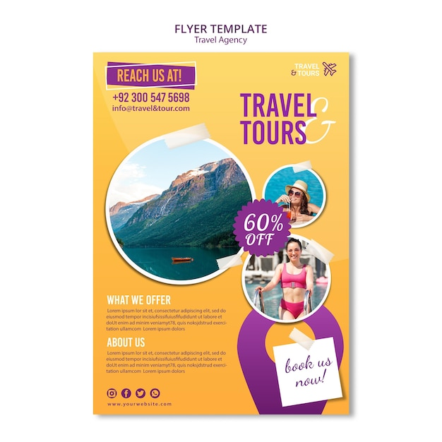 Travel agency ad template flyer Free Psd