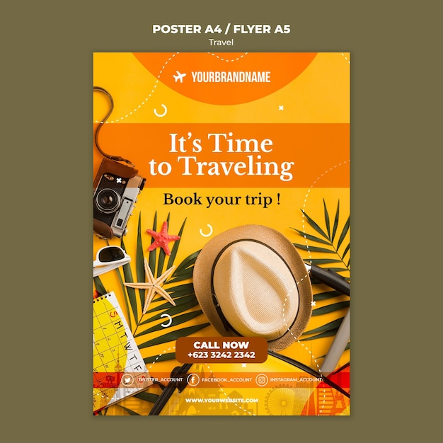 Travel agency ad template poster Free Psd