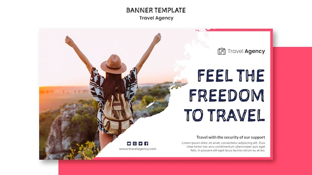 Travel agency banner design Free Psd