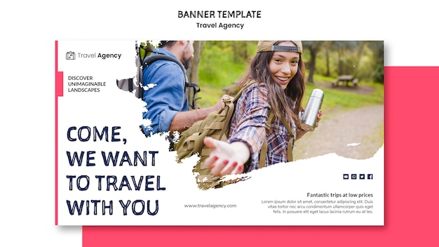 Travel agency banner style Free Psd