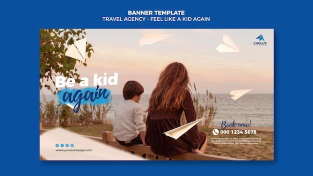 Шаблон баннера туристического агентства с фото Premium Psd