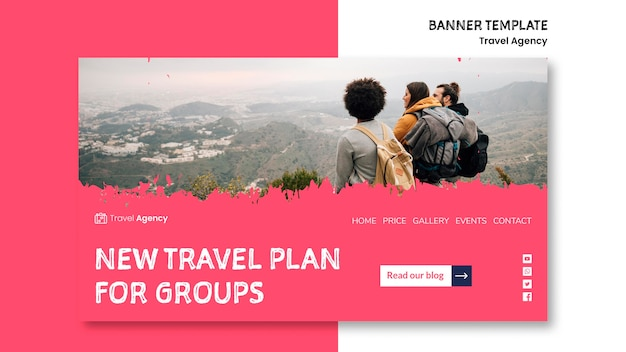 Travel agency banner template Free Psd