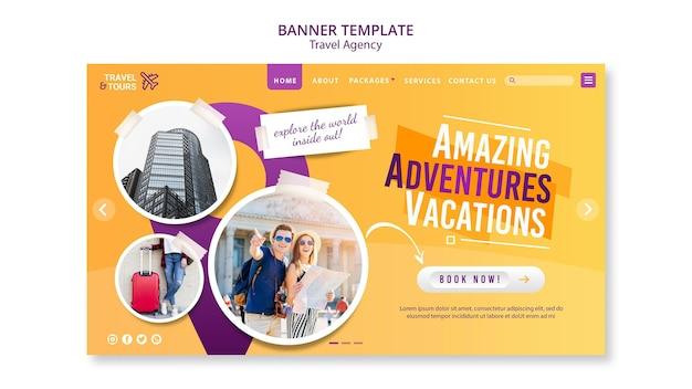 Travel agency banner template Premium Psd