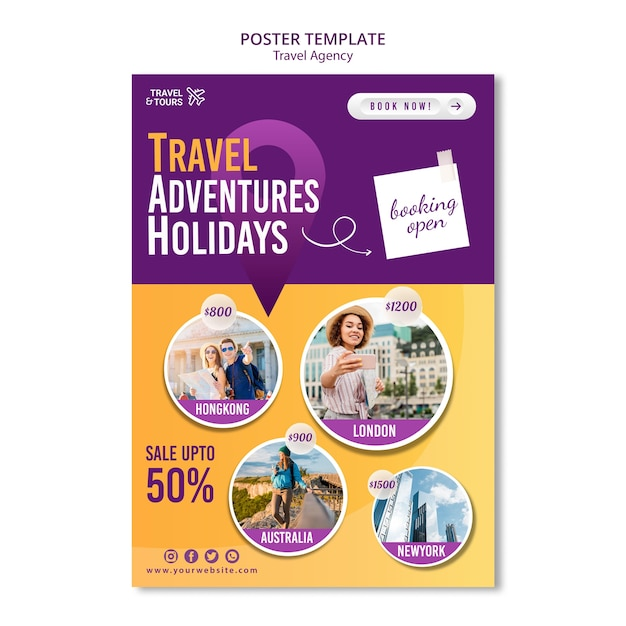 Travel agency flyer template Free Psd