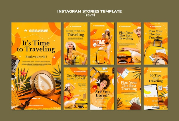 Travel agency instagram stories template Free Psd
