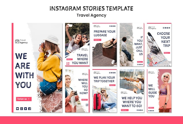 Travel agency instagram stories Free Psd