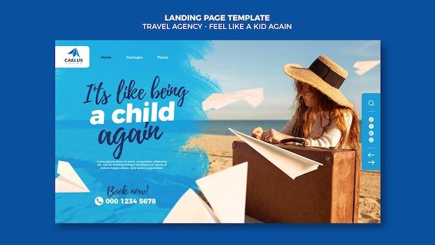 旅行代理店のランディングページテンプレート 無料 Psd