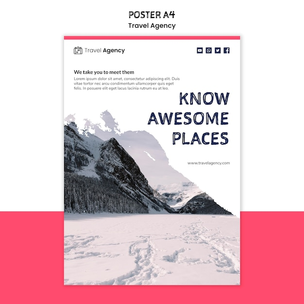 Travel agency poster design Free Psd