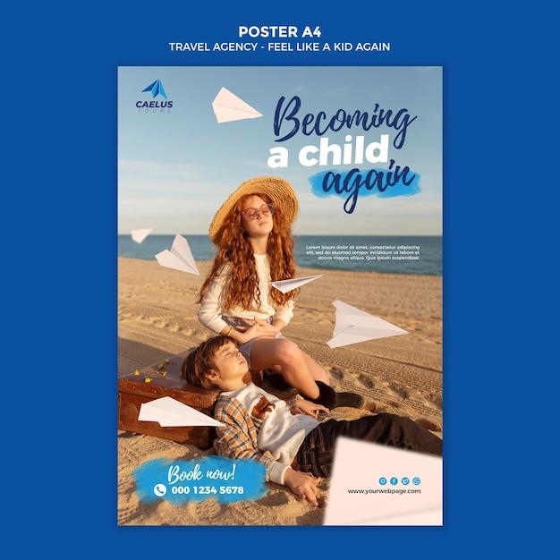 Travel agency poster template kids on beach Premium Psd