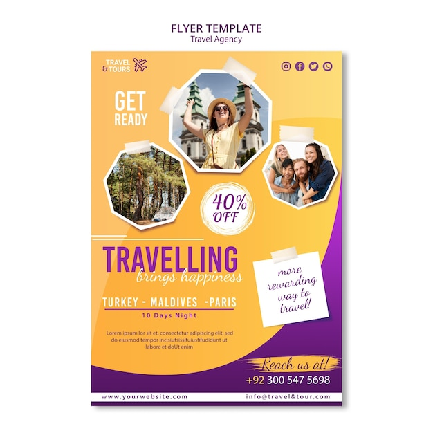Travel agency poster template Free Psd