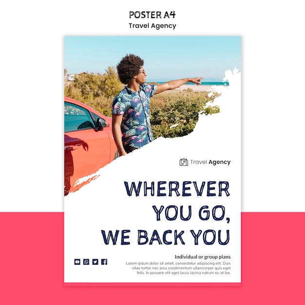 Travel agency poster Free Psd