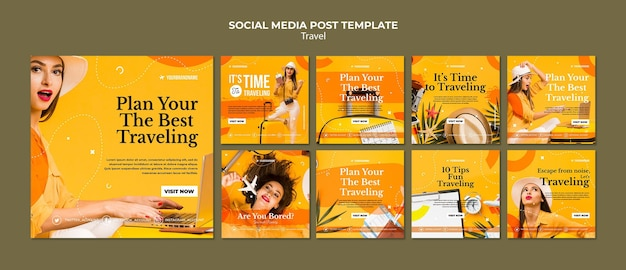 Travel agency social media post template Free Psd