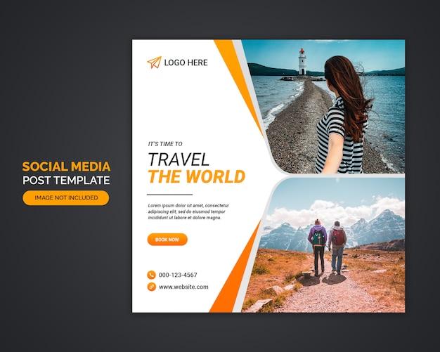 Travel agency social media post template Premium Psd