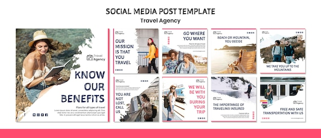 Travel agency social media post Free Psd