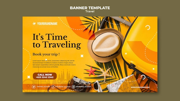 Travel agency template banner Free Psd