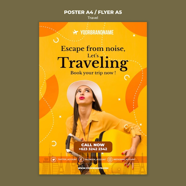 Travel agency template flyer Free Psd