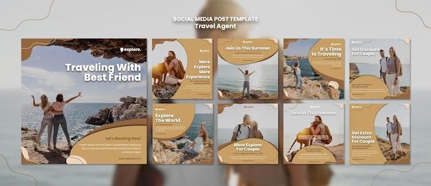 Modello di post social media concetto di agente di viaggio Psd Gratuite