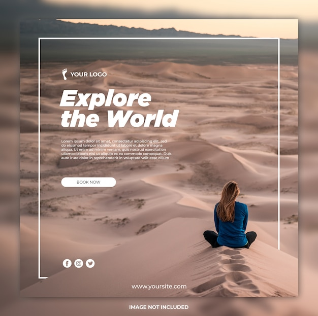 Travel banner adventure tours instagram post or square banner template Premium Psd