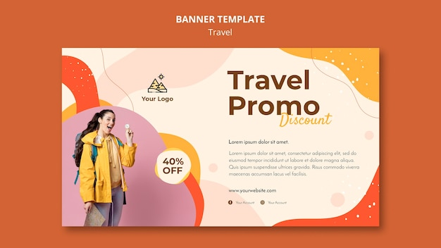 Travel banner template concept Free Psd