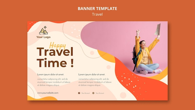 Travel banner template design Free Psd