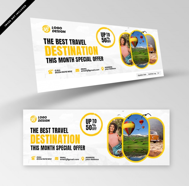 Travel banners with photography Premium Psd