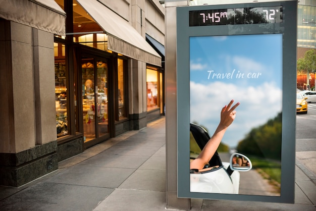 Travel billboard with mock-up Free Psd