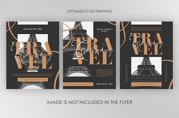 Travel company flyers bundle Premium Psd