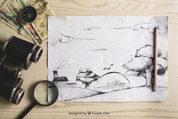 Travel composition with paper Free Psd