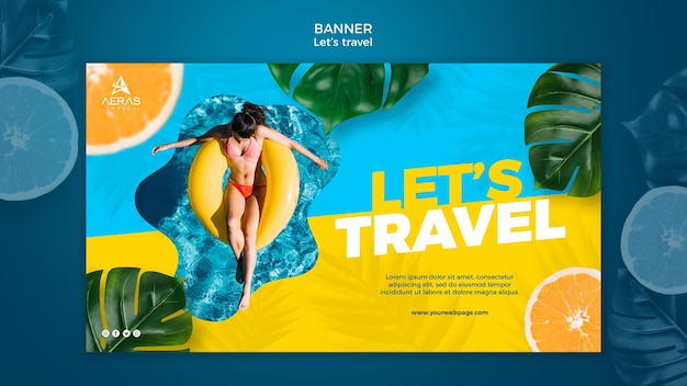 Travel concept banner template Free Psd
