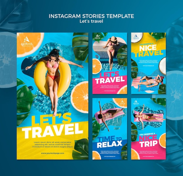 Travel concept instagram stories template Free Psd