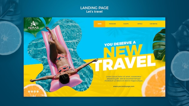 Travel concept landing page template Free Psd