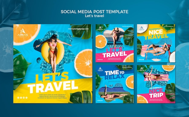 Travel concept social media post template Free Psd