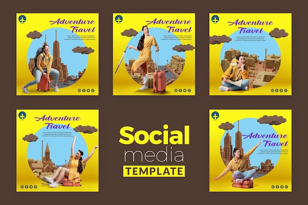 Travel concept social media template Premium Psd