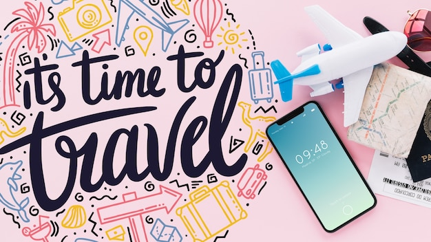 Travel concept with smartphone Free Psd