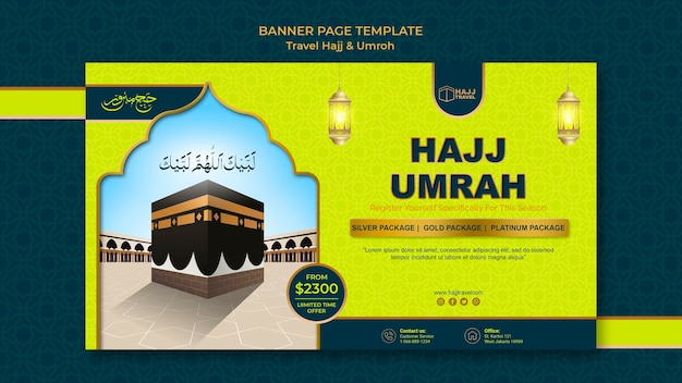Travel hajj and umrah banner template Free Psd