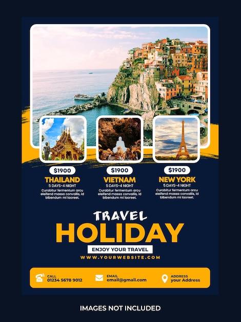 Travel holiday flyer design Premium Psd