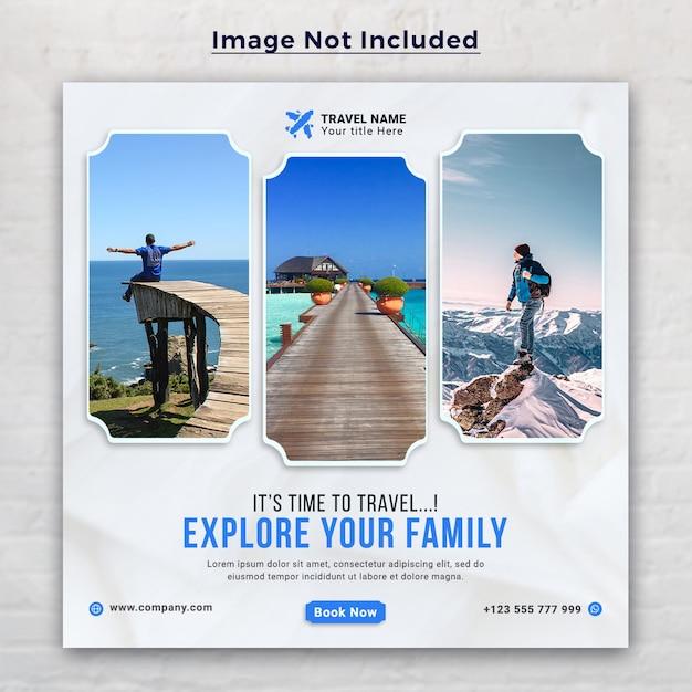 Travel holiday vacation social media post and web banner Premium Psd